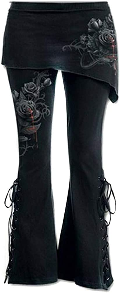 LISTHA Casual Pants Womens Black Embroidered Casual Bandage Flares Punk Lace Up Bell Bottom Leggings