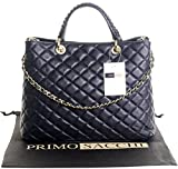 Italian Navy Blue Leather Large Top Handled Quilted Shoulder Bag Handbag, with Metal Chain and Leather, Strap Includes a Branded Protective Storage Bag
