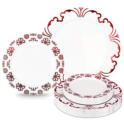 60 Pieces Disposable Plastic Plates Set, Premium Plates for Parties with Real China Design, Red Plates Set - 30 x10.25 Inch Dinner and 30 x7.5 Inch Salad Hard Plates Combo (Warm Red)