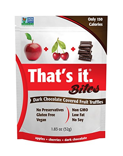 Apple + Cherry That's It. Fruit Bites | Dark Chocolate Covered Fruit Truffles | 100% Natural Great Tasting Real Fruit | Vegan, Gluten Free, Paleo, Kosher, Non GMO, No Preservatives | 6 Pouches