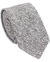DAZI Men's Skinny Tie, Cotton Wool Linen Necktie, Great for Weddings, Groom, Groomsmen, Missions, Dances, Gifts. (Light Gray Cotton)