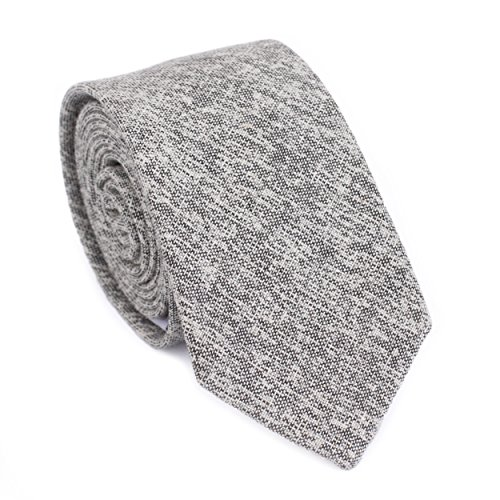 DAZI Men's Skinny Tie, Cotton Wool Linen Necktie, Great for Weddings, Groom, Groomsmen, Missions, Dances, Gifts. (Light Gray Cotton)