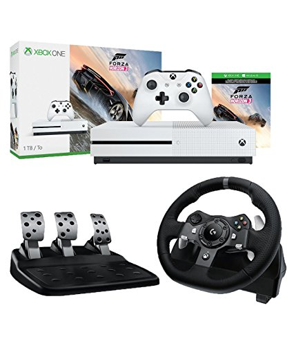 Microsoft Xbox One S Forza Horizon 3 1TB Console and Logitech G920 Driving Force Racing Wheel (For Xbox One and PC) Bundle