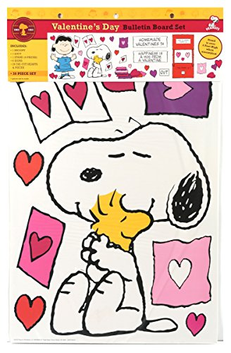 Eureka Teacher Supplies Snoopy Peanuts Valentine Bulletin Board Set, 38 pcs -