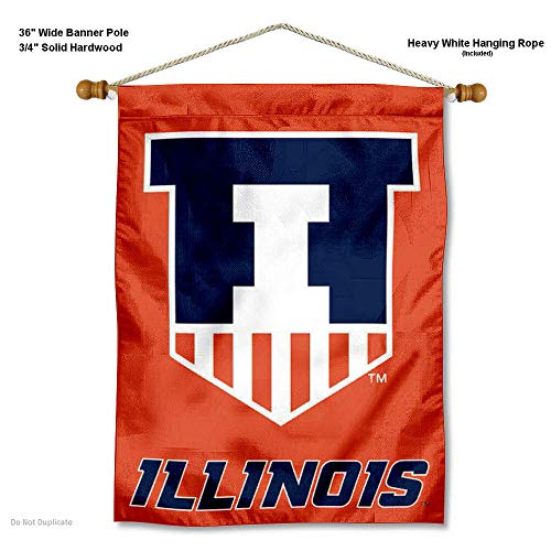 - College Flags and Banners Co. Illinois Fighting Illini Banner with Hanging Pole