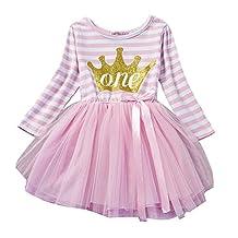 Amurleopard Baby Girls Stripe Dress Shinny Crown Printed Tutu Dress