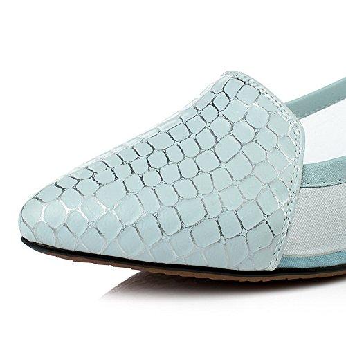 Amoonyfashion Kvinna Pu Låga Klackar Pekade Stängd Tå Diverse Färg Dra På Pumpar-skor Blå