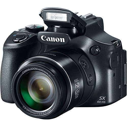 Canon Powershot SX60 16.1MP Digital Camera 65x Optical Zoom Lens 3-inch LCD Tilt Screen (Black) (Certified Refurbished)