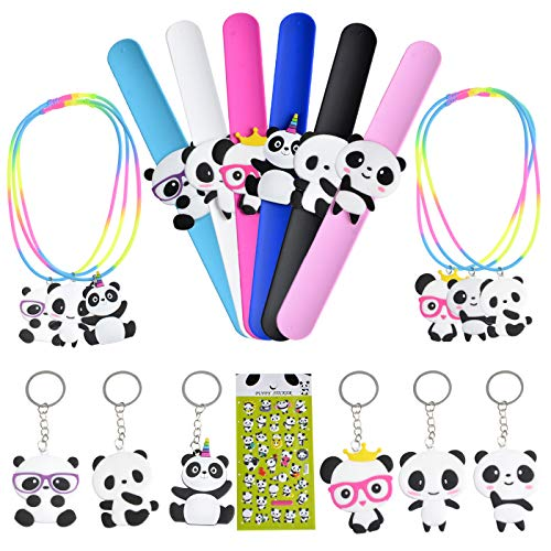KREATWOW Panda Party Favors Kit for Kids Panda Wristband Favor Stickers Necklace Key Chains for Panda Bear Birthday Baby Shower ()