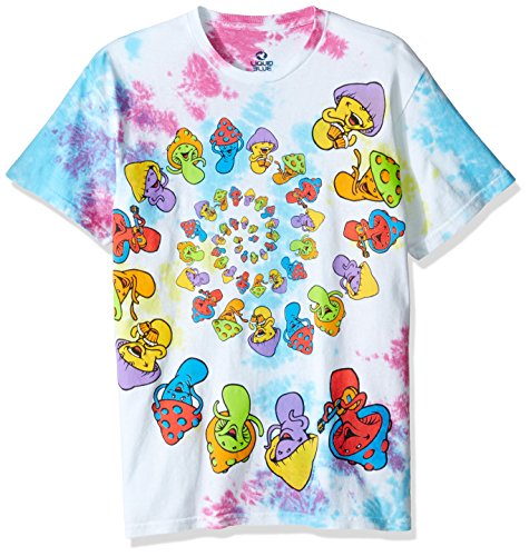 7e50468340edb Liquid Blue Men's Light Fantasy Spiral Mushrooms Short Sleeve Tie Dye  T-Shirt, Small