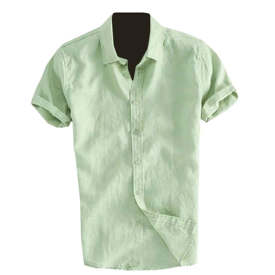 Mfasica Mens Silm Fit Short-Sleeve Pure Color Lapel Collar Shirts