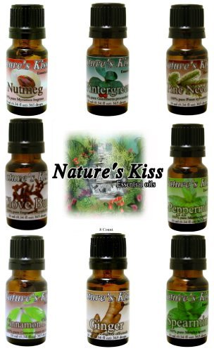 Nature's Kiss Holiday Sampler Pack 8 - 10 Ml Essential Oils 100% Pure Therapeutic Grade Clove Bud, Peppermint, Nutmeg, Pine Needle, Wintergreen, Cinnamon Leaf, Ginger, Spearmint by Nature's Kiss (10 Ml Sampler)