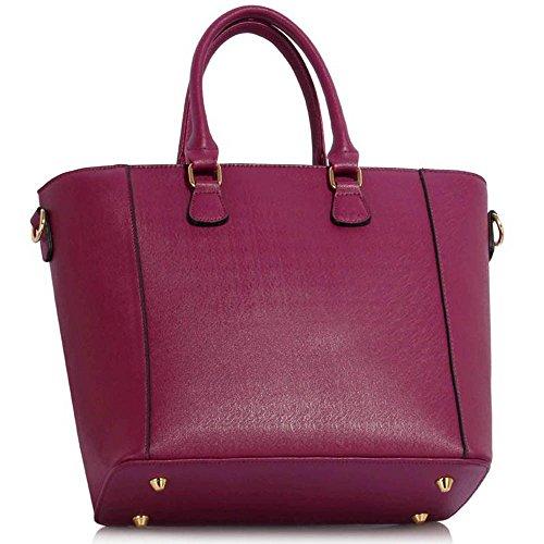 Leesun London Damen Kunstleder Handtaschen Große Drei Fächern Frauen Designer Taschen Tote Schulter Taschen H - Bourgogne g8bfuJLvGt