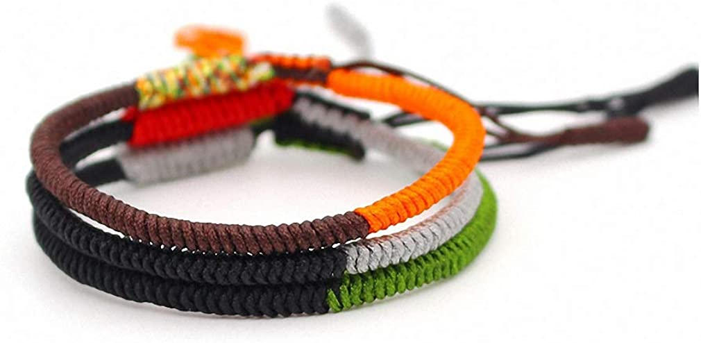 Hynsin Buddhist Lucky Charm Bracelets /& Bangles for Women Men Knots Handmade Black Rope Bracelet