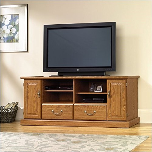 (Pemberly Row Wood TV Stand in Carolina Oak Finish)