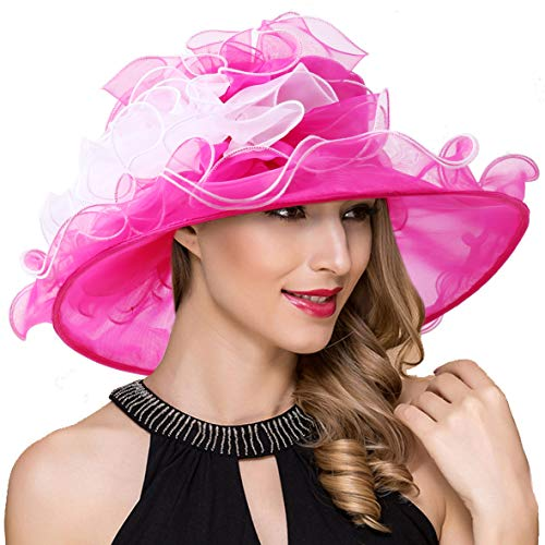 Women Kentucky Derby Church Dress Fascinator Wide Brim Tea Party Wedding Organza Hats S042b (S039b-White)