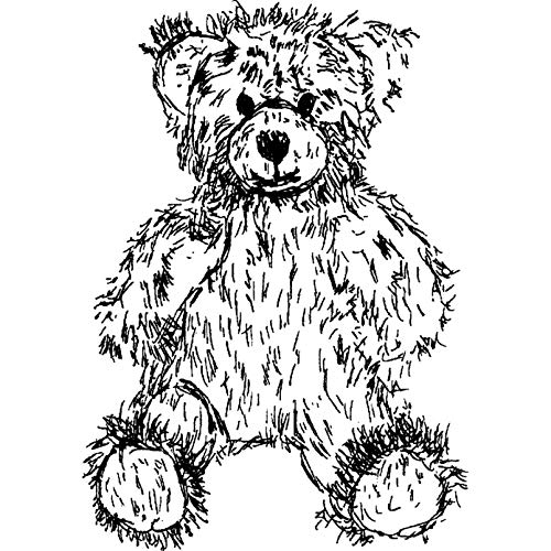 RS00003740 A7 Teddy Bear Unmounted Rubber Stamp