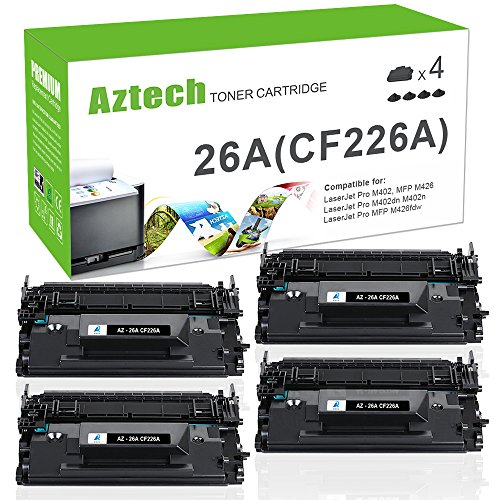 Aztech 4 Pack Compatible for HP 26A CF226A 26X CF226X Black Toner Cartridge 3,100 Pages Yield for HP Laserjet Pro M402dn M402n M402d M402dw, Laserjet Pro MFP M426dw M426fdw M426fdn, M402 M426 Printer