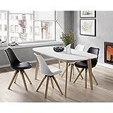 NAISS Table a manger extensible de 6 a 8 personnes scandinave pieds bouleau massif + plateau mélaminé blanc - L 160 a 200 x l 90