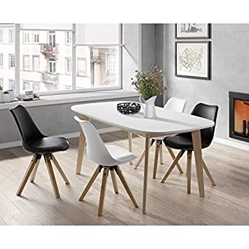 NAISS Table a manger extensible de 6 a 8 personnes scandinave pieds bouleau  massif + plateau melamine blanc - L 160 a 200 xl 90 cm