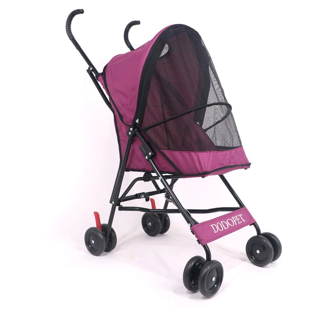 Red Light Four-Wheeled pet Stroller cat and Dog Stroller-red