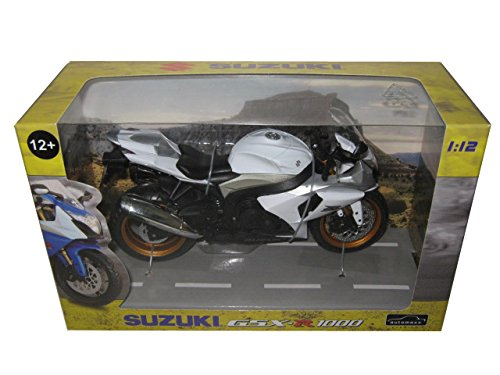 Price comparison product image Suzuki GSX R 1000 White / Silver Motorcycle Model 1 / 12 by Automaxx 600801
