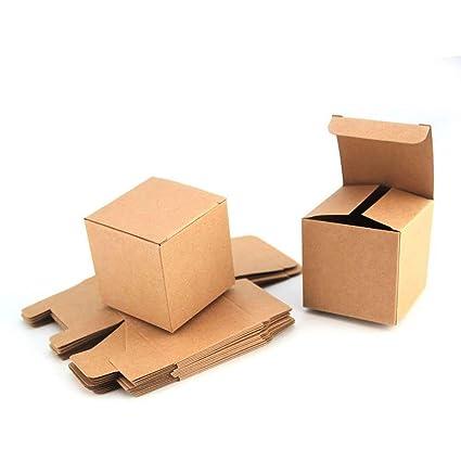 RUBY-50 Caja kraft de boda regalo Rústico Cajas Papel Kraft, para Guardar Bombones