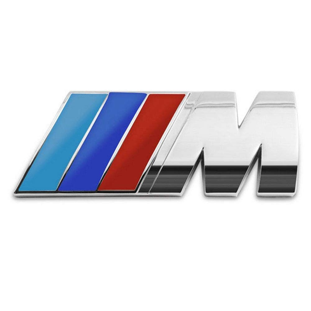M Emblem Badge Sticker Motorsport Power, Rear Emblem Car Decal Logo Sticker for All Models BMW 1 3 5 7 Series E30 E36 E46 E34 E39 E60 E65 E38 X1 X3 X5 X6 Z3 Z4 (Silver) jiayuandz