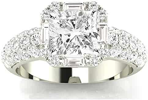 1.8 Ctw 14K White Gold GIA Certified Cushion Cut Designer Popular Halo Style Baguette and Pave Set Round Diamond Engagement Ring, 1 Ct I-J SI1-SI2 Center