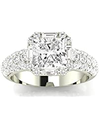 f9ac8e6ae00ead 1.8 Ctw 14K White Gold GIA Certified Cushion Cut Designer Popular Halo  Style Baguette and Pave
