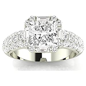 1.8 Ctw 14K White Gold GIA Certified Cushion Cut Designer Popular Halo Style Baguette And Pave Set Round Diamond Engagement Ring, 1 Ct I J SI1 SI2 Center
