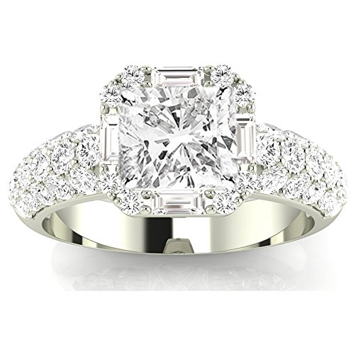 - 1.8 Ctw 14K White Gold GIA Certified Cushion Cut Designer Popular Halo Style Baguette and Pave Set Round Diamond Engagement Ring, 1 Ct I-J SI1-SI2 Center