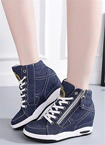 Scarpe Da Ginnastica Con Tacco Nascoste Da Donna, Scarpe Con Tacco Alto Casual Con Zeppa In Jeans, 2 Colori Taglia 5,5-7,5 Blu Scuro