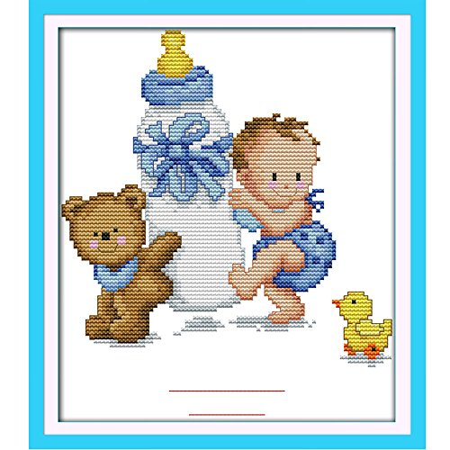 Amazon.com: 26.5 22cm DIY Handmade Counted Cross Stitch Set Embroidery Needlework Kits Babyx27;s Bottle Toy Pattern Cross Stitching Home Decoration 14CT: ...