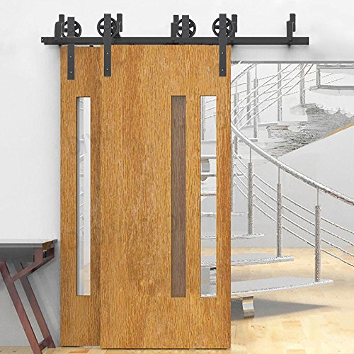 - WINSOON 5FT-16FT Sliding Bypass Cabinet Door Hardware Double Rail Strong Bearing Kit, Black Big Wheel (5FT)