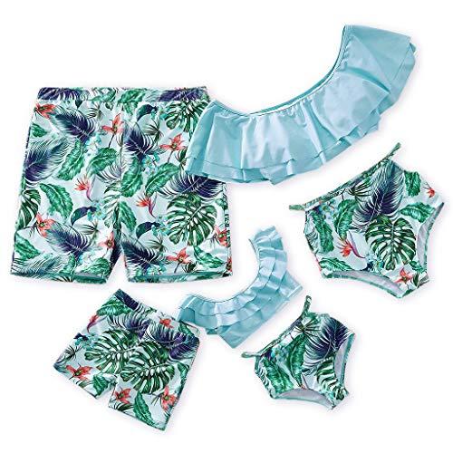 Yaffi Family Matching Swimwear Two Pieces Bikini Set 2019 Newest Printed Ruffles Off Shoulder Bathing Suits Boys: 8-9 Years Light -