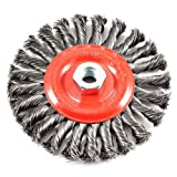 51qzMMWk6%2BL. SL160  - Forney 72758 Wire Wheel Brush, Twist Knot with 5/8-Inch-11 Threaded Arbor, 6-Inch-by-.020-Inch