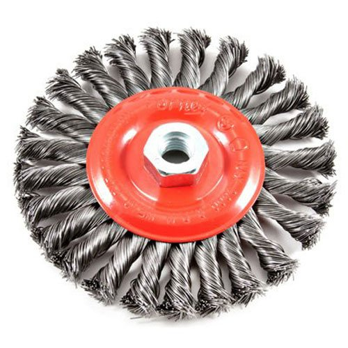 Forney 72758 Wire Wheel Brush, Twist Knot with 5/8-Inch-11 Threaded Arbor, 6-Inch-by-.020-Inch