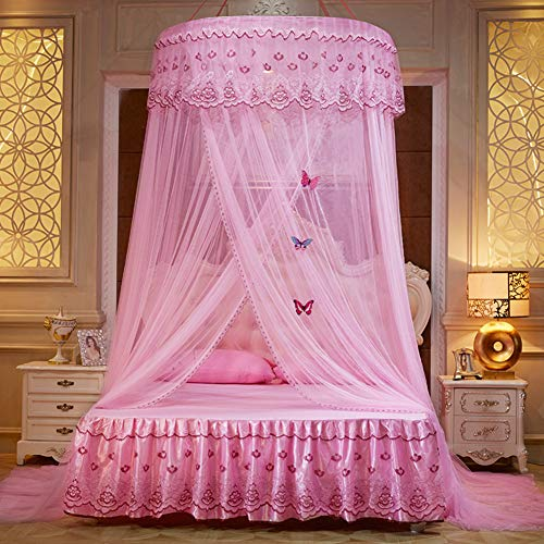 Ceiling Dome Mosquito Net, Double Bed Princess Bed Canopy, European Round Tent Bed Curtain-Pink Queen2