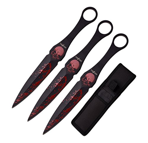 Perfect Point PP-104-9-3 Throwing Knife Set with Three Knives, Skull-Accented Blades, 9-Inch - Knife Throwing Skull
