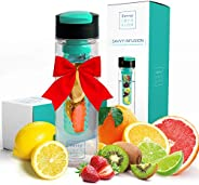 Savvy Infusion Flip Top Fruit Infuser Water Bottle - 24 Ounce - Unique Leak Proof Lid - Great Gifts for Women - Includes Bon