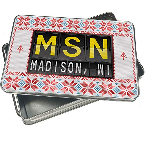 NEONBLOND Cookie Tin Box MSN Airport Code for Madison, WI Vintage Christmas Pattern -