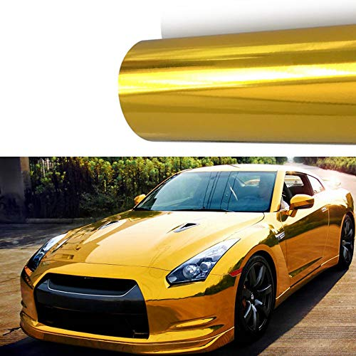 (M J-AUTOPARTS Chrome Mirror Vinyl Film Wrap Sticker Decal Stretchable Reflective + Free Cutter, Scissors & Squeegee (2FTX5FT / 24