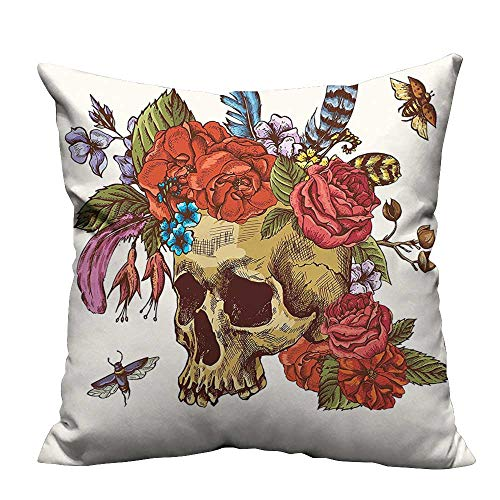 YouXianHome Decorative Throw Pillow Case The Dead Vintage Sugar Skull Bouquet of Flowers Feathers Blooms Bugs and Ideal Decoration(Double-Sided Printing) 26x26 inch -