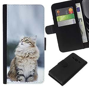 YiPhone /// Tirón de la caja Cartera de cuero con ranuras para tarjetas - CAT NIEVE NORUEGO - Samsung Galaxy A3