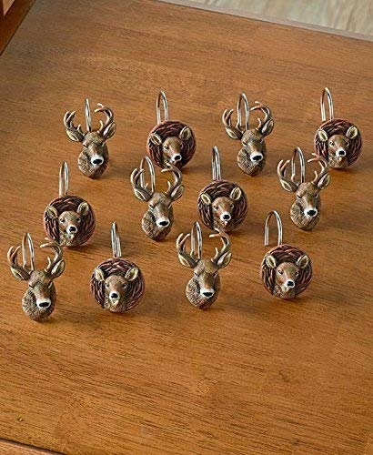 Set of 12 Cold Snap Deer Shower Curtain Hooks by The Lakeside Collection