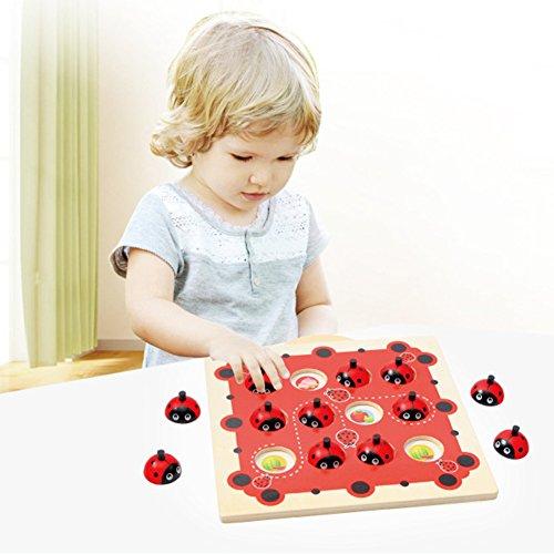 Qiyun Kids Wooden Cartoon Ladybug Design Kids Memory Training Game Chess Montessori Early Development Toys for (Ladybug Game)