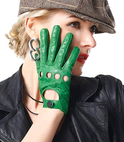 1 Es Green Moda Al Cuero Aire Acogedor Mujer De Libre Guantes Manoplas Sólido Color Mittens Hueca v6xzZqw