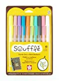 Office Products : Sakura 58350 10-Piece Blister Card Souffle Assorted Color 3-Dimensional Opaque Ink Pen Set