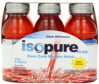 Isopure Plus 0 Carb Protein Drink Alpine Punch, 6-Count, 8 Ounces Bottles (Pack of 4) by Isopure
